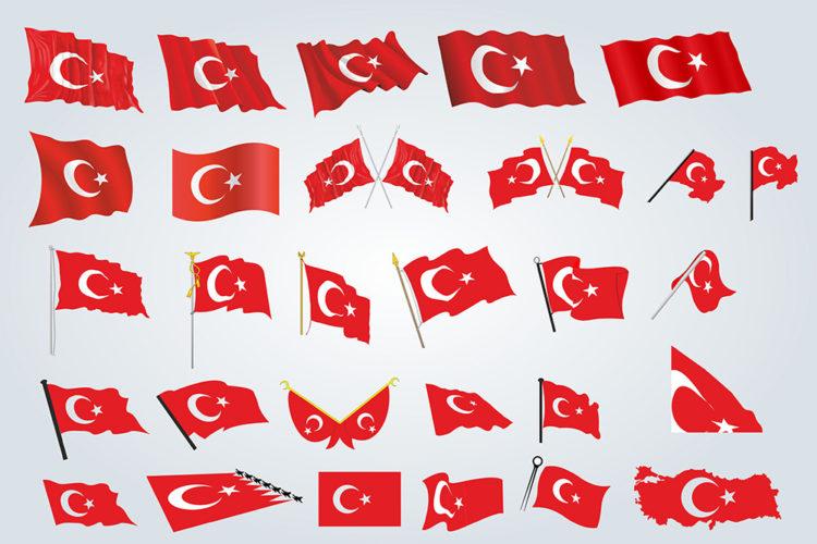 Vektörel Türk Bayrak Çizimleri
